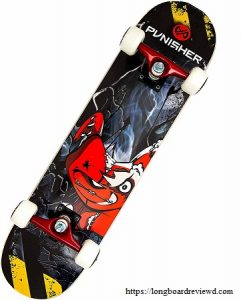 Punisher Skateboards Teddy Complete 31-Inch Skateboard with Canadian Maple and Concave Deck