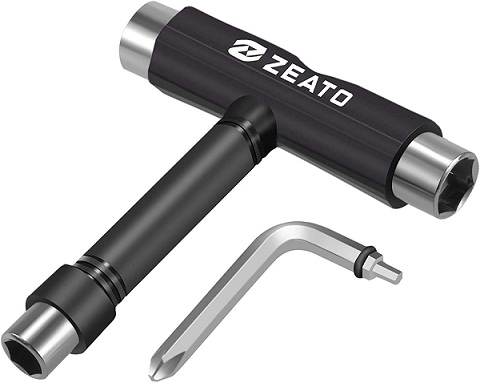 Zeato All-in-One Skate Tools Multi-Function Portable Skateboard T Tool